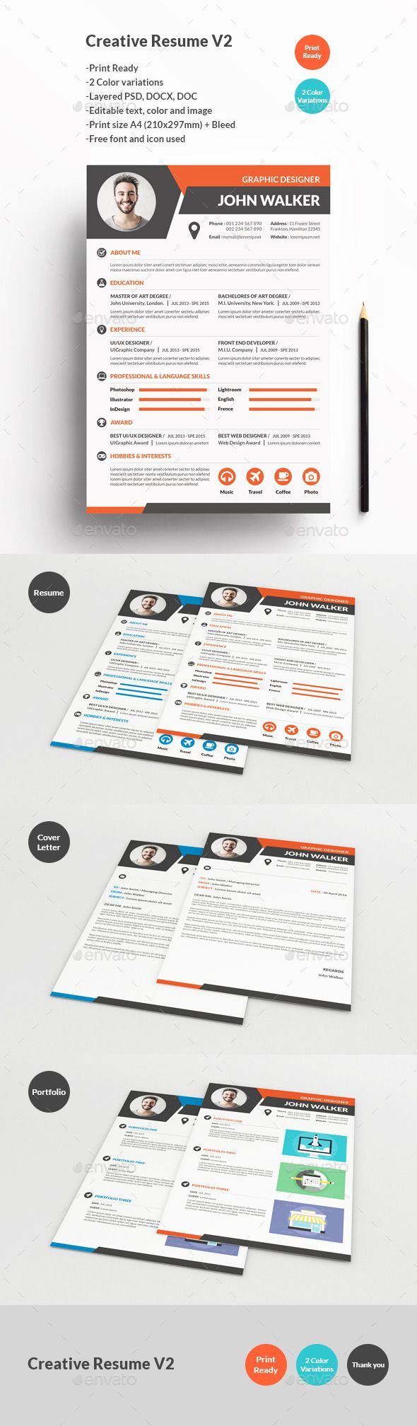 Creative Resume V2 1534 best Resume Design