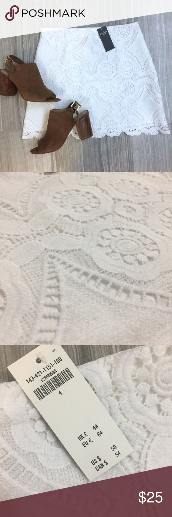 Abercrombie and Fitch crochet skirt Abercrombie and Fitch crochet overlay skirt with white underlay in a size 4-NWT.                                                             Make me offers🎉 Abercrombie & Fitch Skirts