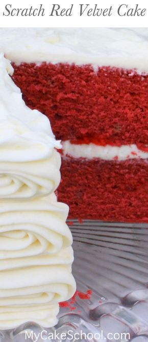 You will love this Scratch Red Velvet Cake Recipe! Moist, delicious, and flavorful! by MyCakeSchool.com.