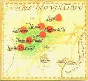 Mapa del Valle del Vinalopó con las siete poblaciones que cuidan la mejor uva del mundo.