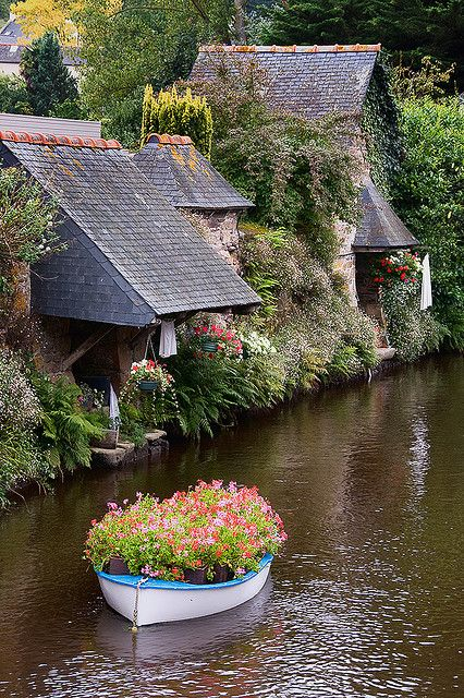Flower boat, Brittany, France