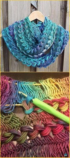 Crochet Braided Hairpin Lace Infinity Scarf Free Pattern - Crochet Infinity Scarf Free Patterns