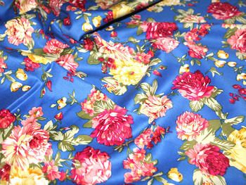 Denim Blue & Multi Traditional Floral Print Stretch Cotton Dress Fabric - per metre Preview