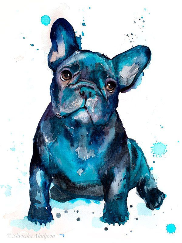 Black French Bulldog Baby Watercolor Painting Print By Slaveika Aladjova Art Animal Illustration Home Decor Gift Contemporary Dog Art French Bulldog Art Bulldog Art Print French Bulldog Painting