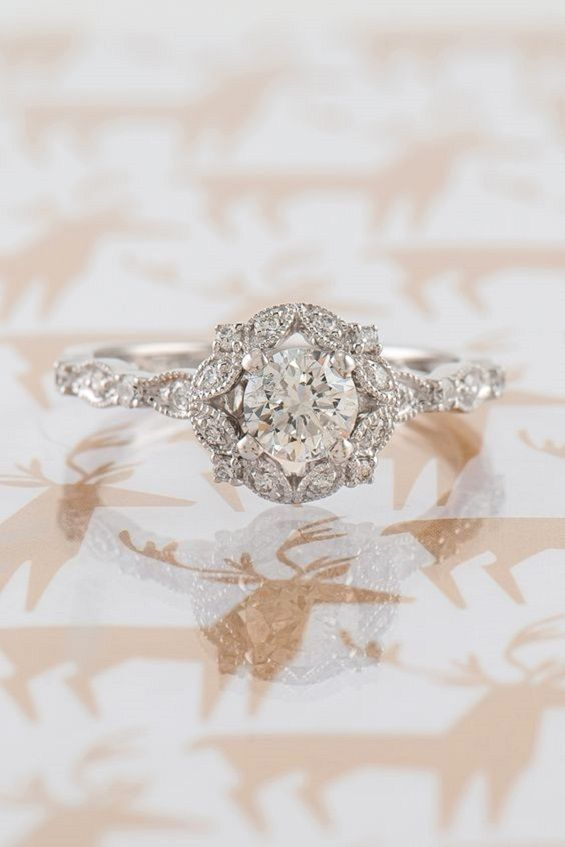 Round Halo Vintage Diamond Engagement Ring,Diamond Engagement ring, Wedding Rings