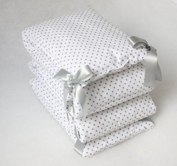 Baby Cot Bumper Crib Bumper Grey Cot Bumper Polka Dots by myTITU
