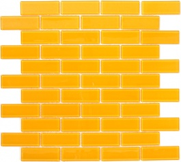 Burnt Yellow Glass Subway Tile - a classic  shape and style in a bold color. Glossy float glass tiles are stunning in this mustard hue for a bathroom or kitchen backsplash. $13.99 #mosaic