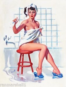 1940s Pin-Up Girl Bath Time Picture Poster Print Art Pin Up