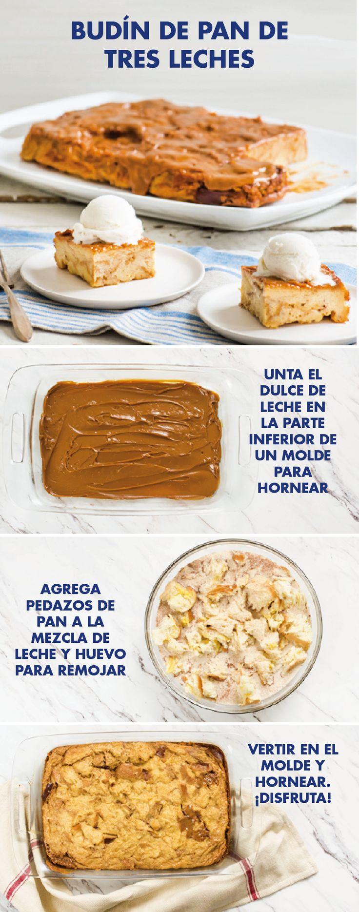 ¡Prepara esta deliciosa y fácil receta de budín de pan con dulce de leche, es un postre súper especial para tu cena familiar! Te encantará lo sencillo que es hacer este budín con los sabores de la cocina de la abuela, gracias a la combinación de pan de brioche, pasas, canela, nueces picadas , leche condensada y dulce de leche de La Lechera. ¡Y no te olvides de acompañarlo con helado!