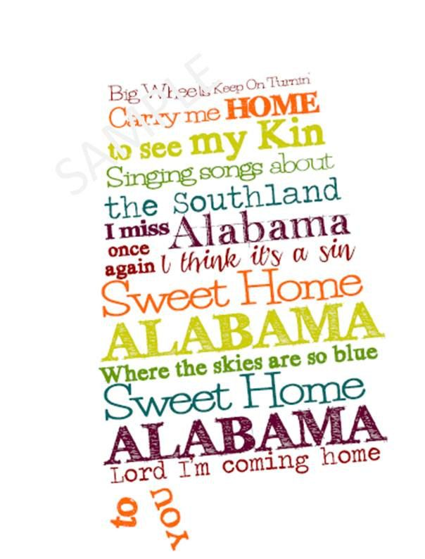 Alabama Subway Art - Sweet Home Alabama. $3.00, via Etsy.