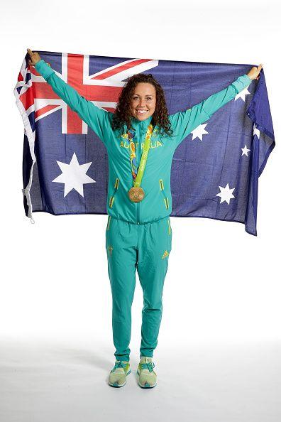 Women's Modern Pentathlon Gold medalist Chloe Esposito of Australia poses during…