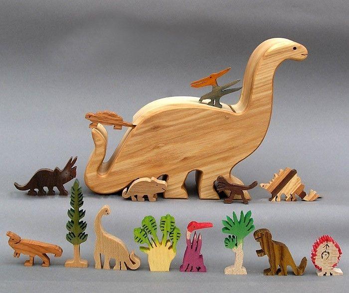Dinosaur Story Box  Wooden Toy for Jurassic Park Kids Organic  Waldorf Brontosaurus. $69.75, via Etsy.