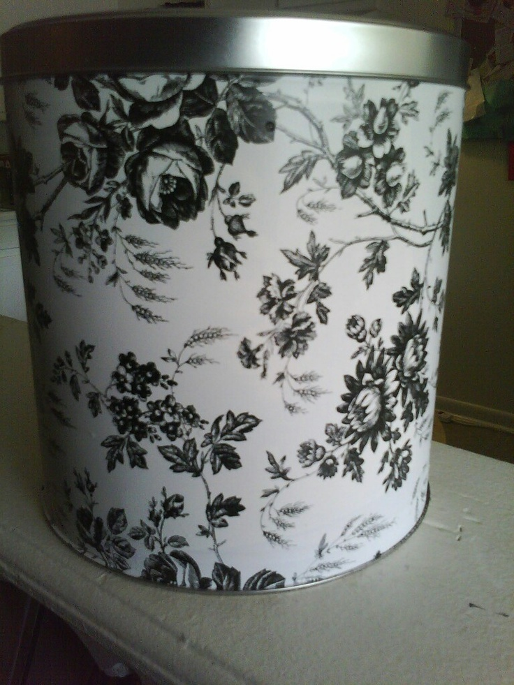 From popcorn tin to cute storage bin! Yeah, I made it!