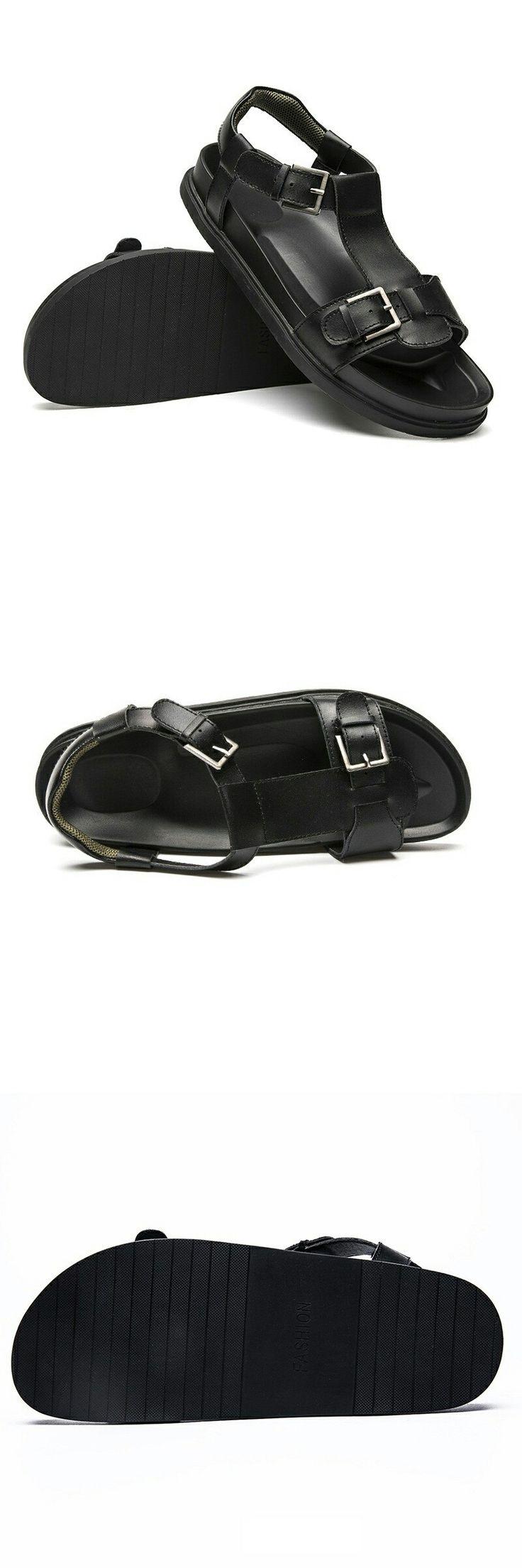 Men Buckle Sandals Shoes Slippers Summer Flip Flops Beach Men Shoes Leather Sandalias Zapatos Hombre Dark Black