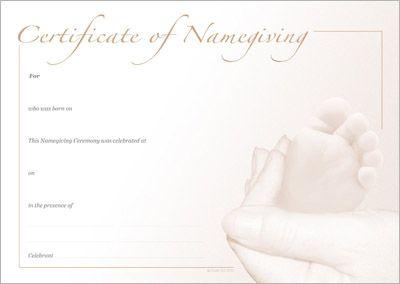 Naming Certificate - Sepia Foot design.