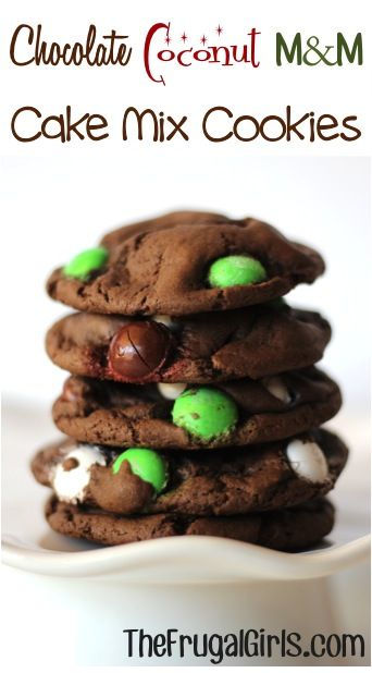 Chocolate Coconut M and M Cake Mix Cookies Recipe! ~ from TheFrugalGirls.com {these cookies take just 4 ingredients, and are SO moist and delicious!!} #cookie #recipes