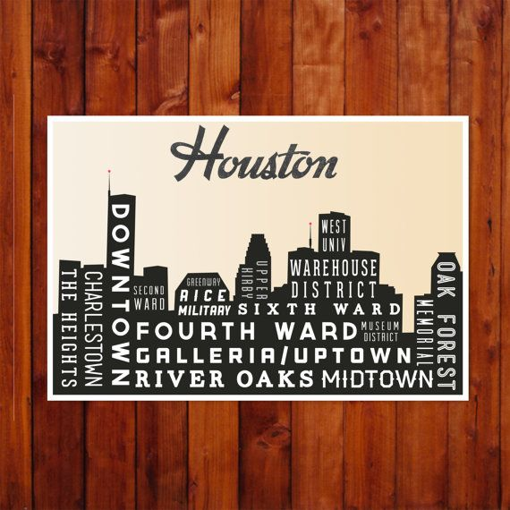 HOUSTON, Typography Print, Art Poster, Gift, Home Decor