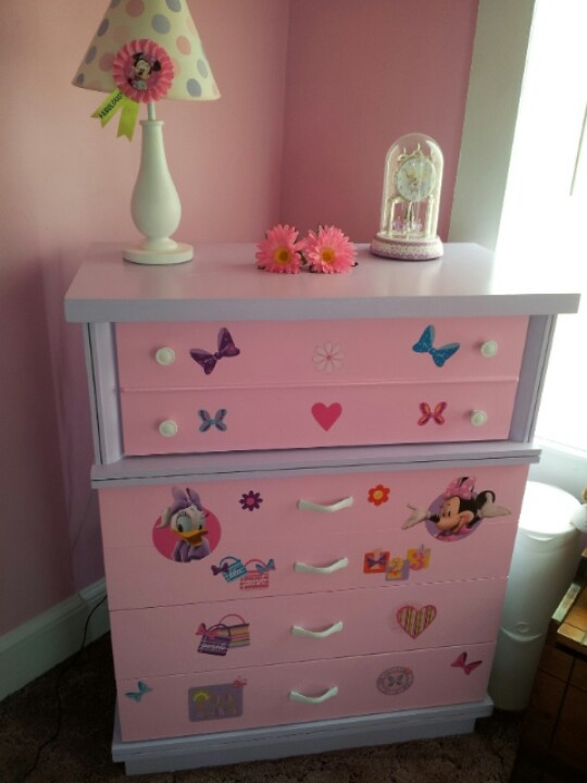 i made an old dresser into a minnie mouse dresser