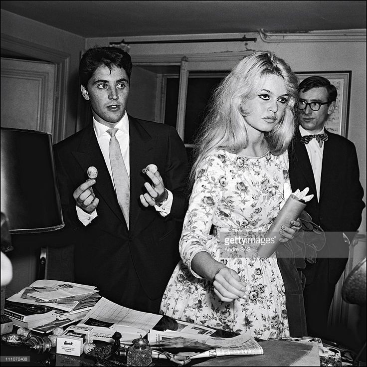 Brigitte Bardot with Sacha Distel in France in January 1958.
