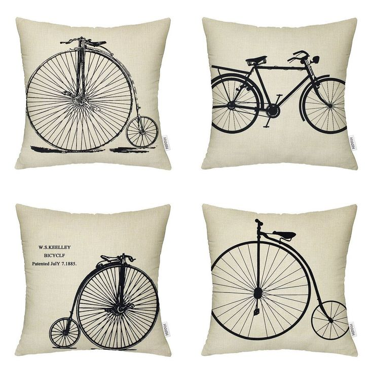 New Bike Print Cushion Decorative Sofa Bed Square 18x18 Sofa Pillow Cover 4Pc  #White