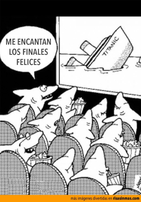 Me encantan los finales felices. - FL Week. Even in Spanish Far Side-ish humor is hilarious! Translation: I love happy endings!