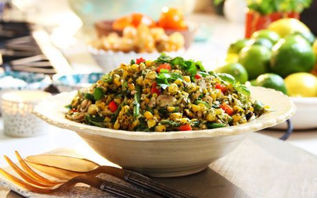 Siba's Braaied Corn Salad with Basil Pesto Dressing Recipe by Siba Mtongana