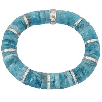 """18kt white gold and aqua discs """"smarties"""" bracelet with diamond round set in two rings. The white gold rings are dispersed throughout and the bracelet has"""