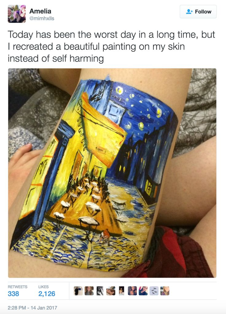 This Teen Decided To Recreate A Painting On Her Leg Instead Of Self Harming