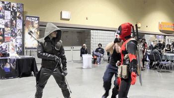 funny Deadpool cosplay | ... Gif captured from of D Piddy's Deadpool vs Long Beach Comic-Con 2013