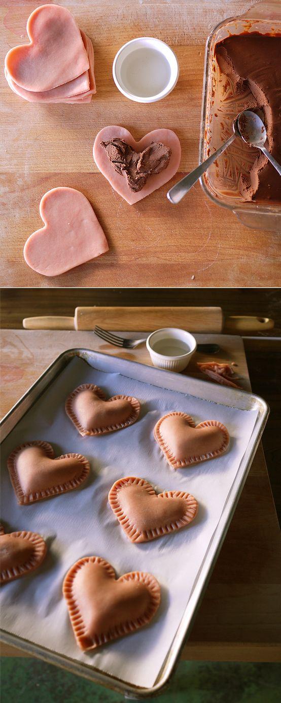 """""""Lovanadas""""  Chocolate filled empanadas    for Valentine's day, Arielle?? :3"""