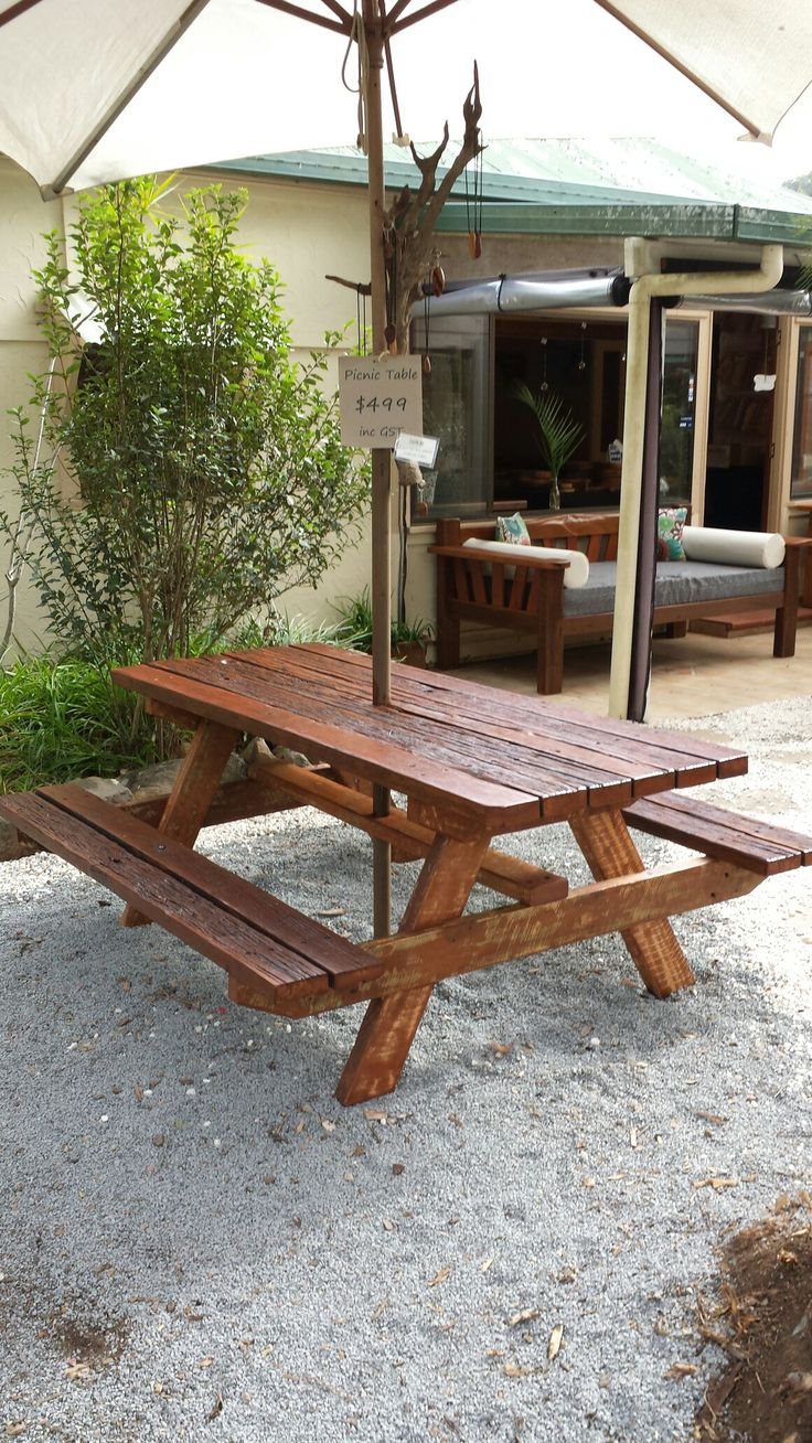 Recycled hardwood timber picnic tables $550.00 Illusive Wood Designs