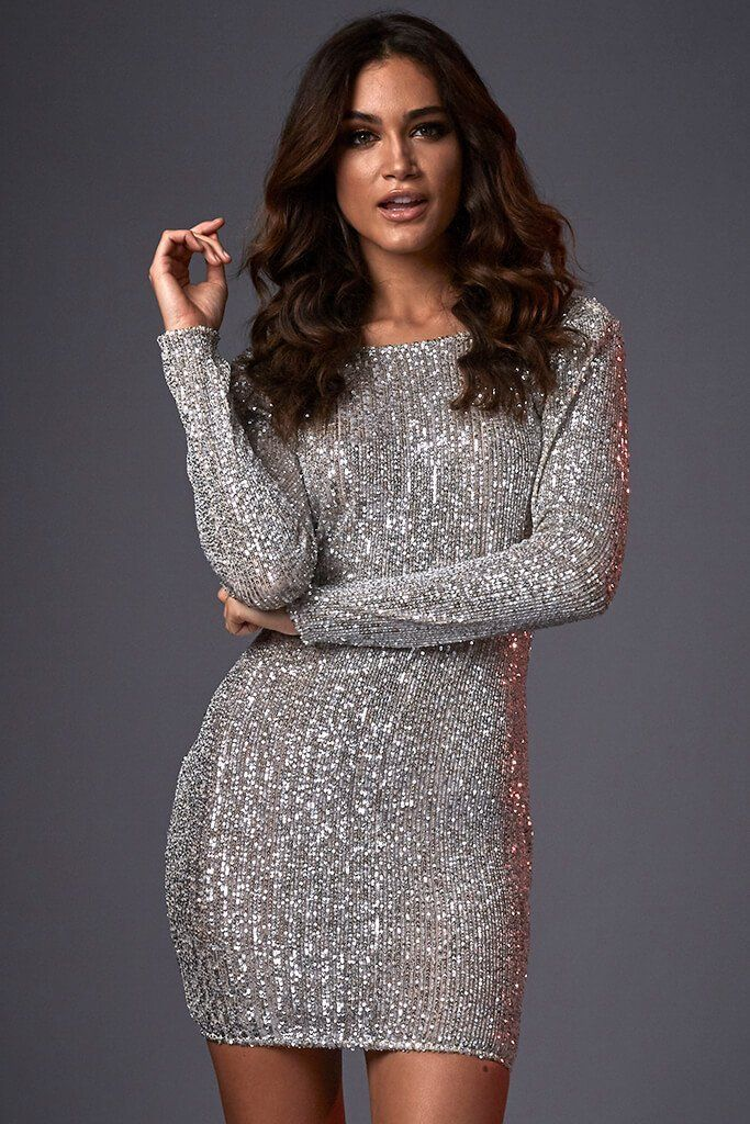 39c40810 Silver Cowl Back Sequin Mini Dress view 2 Long Sleeve Sparkly Dress, Sequin  Mini Dress