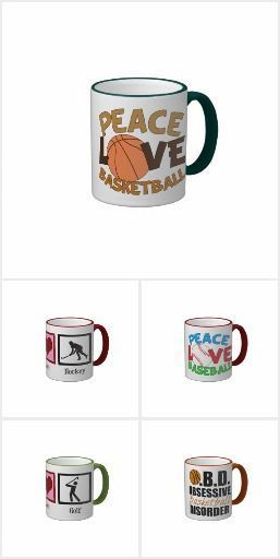 Sports Mugs that make great Christmas gifts for baseball, basketball, football, golf, hockey, and other sports fans. Pick your favorite sport and color for the mug handle. Peace Love Sports themed and Sports Obsession Themed.
