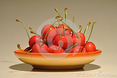 Red cherries in a plate