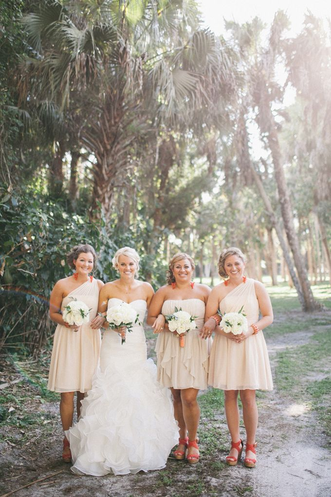 peach bridesmaids | Jennifer Martin Photography | Glamour & Grace