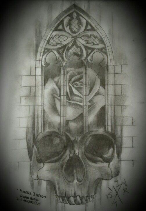 Skull rose churchwindow