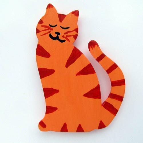 Orange Tabby Cat Wood Fridge Magnet   SouthSweetHome - Housewares on ArtFire