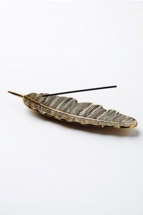 Gold Feather Incense Burner