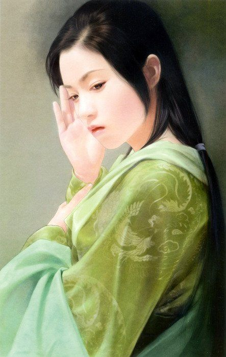 By 陳淑芬 (Chen Shu Fen).  This is my favorite by this artist, with the expression on her face, the greens, the raised hand that makes it look as though she's trying to shield herself, or block something out.  I love her cast down eyes.  Gorgeous.