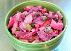 Heringsalat, German Herring Salad _ While I was at the German deli getting stuff for the meat salad, I saw some pickled herring and decided to make some herring salad as well. There are different versions of it. I prefer the one which includes beets because I love them, and the way they colour this salad.
