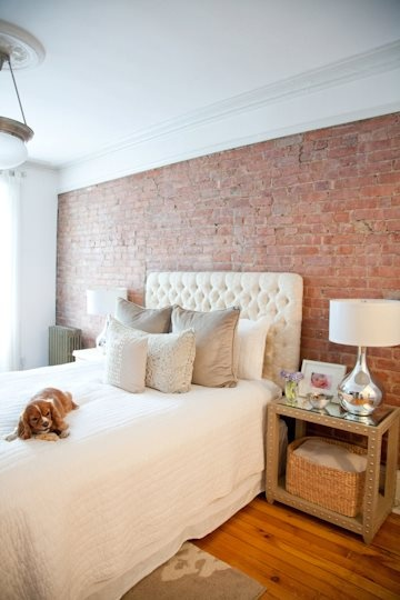 Love the brick wall in the bedroom!  goes perfect with the softness of the headboard...LOVE!