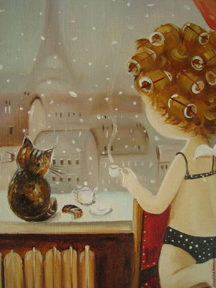 Купить Картина маслом . Уютное утро в Париже! - картина, картина маслом, Живопись, живопись маслом