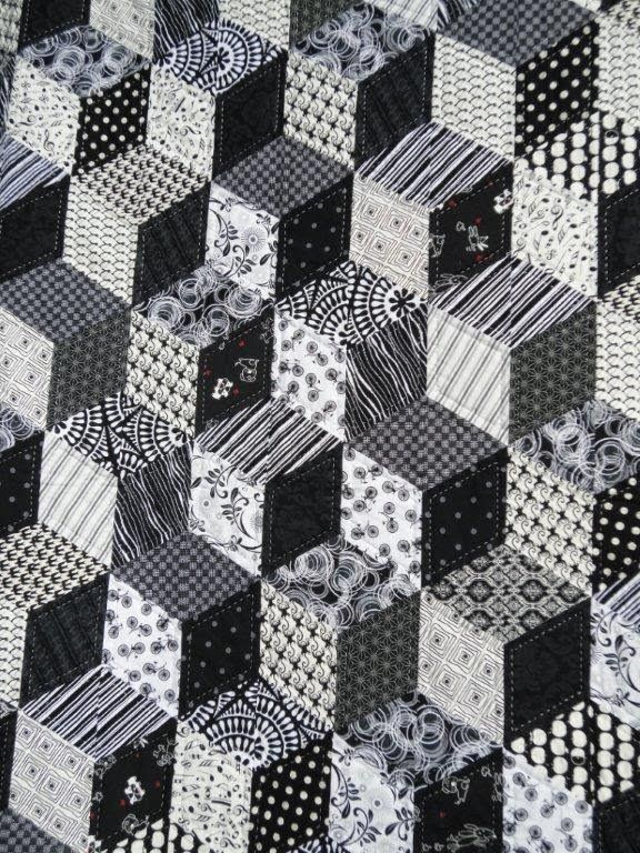 Black and white tumbling blocks quilt by Wendy Welsh   Wendy's quilts and more.  2014 Bloggers Quilt Festival.