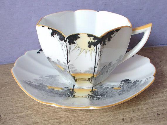 Antique Shelley tea cup and saucer set vintage 1920's Queen Anne shape English tea set orange black art deco tea cup