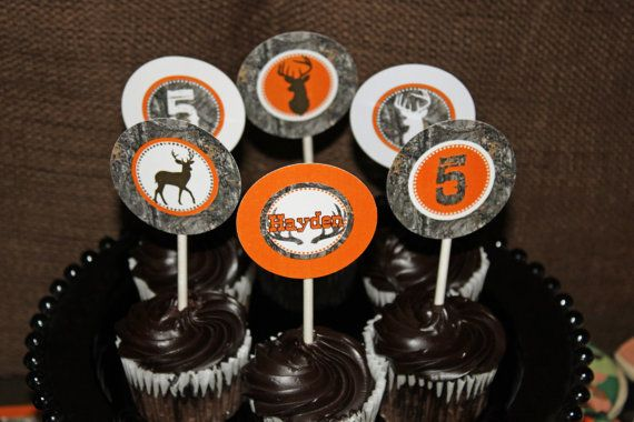 Camo Deer Hunting realtree Cupcake Toppers by CupcakeExpress orange camo deer hunting printable cupcake toppers birthday party decorations