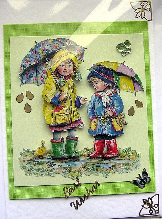 April Showers HandCrafted 3D Decoupage Card Best by SunnyCrystals, $3.65