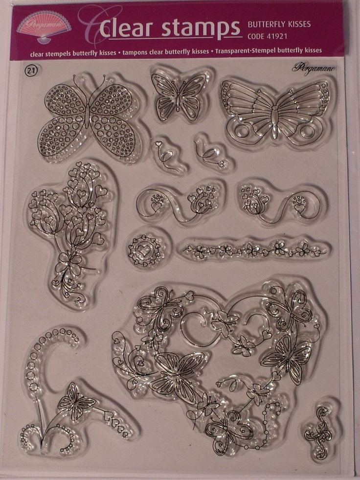 PERGAMANO CLEAR STAMPS - BUTTERFLY KISSES      Clear stamps butterfly kisses are transparent allowing you to see where you stamp the picture onto the paper. Clear stamps butterfly kisses contains no fewer than 13 images. We advise the use of StazOn stamp ink for stamping on parchment paper.