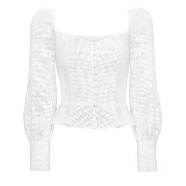 Valentina Bustier Puffy Sleeve Top -15% OFF ($135) ❤ liked on Polyvore featuring tops, white eyelet top, corset bustier, bustier corset tops, white corset bustier and white top