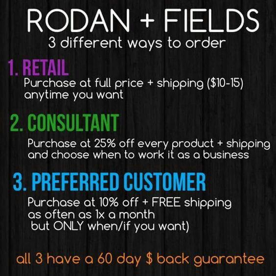 What skin care line and product gives you three options to purchase AND 60 day money back guarantee? This is just one of the many reasons I truly LOVE my Rodan and Fields. Contact me for more information, share with a friend, spread the love!  jwells21.myrandf.com jenwells21@gmail.com 6617556852