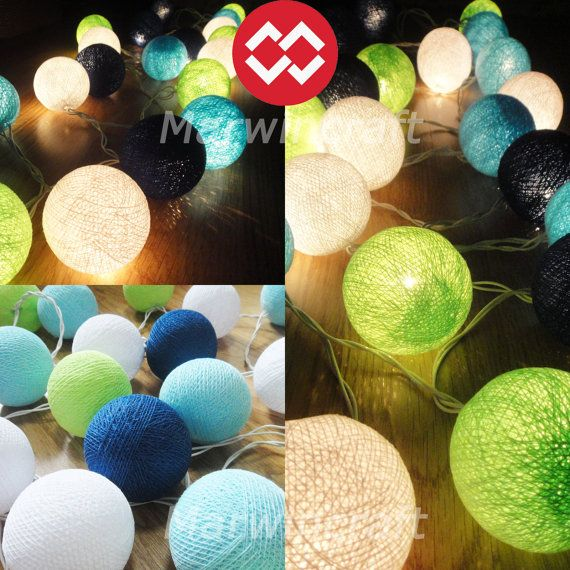 35 Tiny Cotton Balls Lemon Green Blue Tone Fairy String Lights Party Patio Wedding Floor Table or Hanging Gift Home Decor Christmas Bedroom